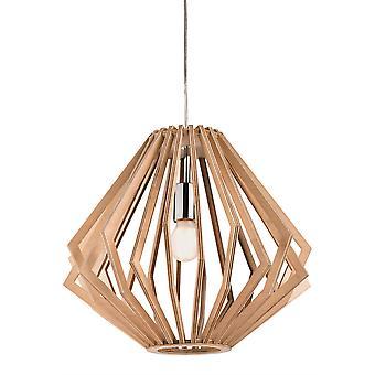 Firstlight Cadiz 1 Licht Käfig Anhänger Licht Natürliche Holz 3715