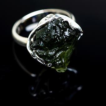 Czech Moldavite Ring Size 7 Adjustable (925 Sterling Silver)  - Handmade Boho Vintage Jewelry RING978172