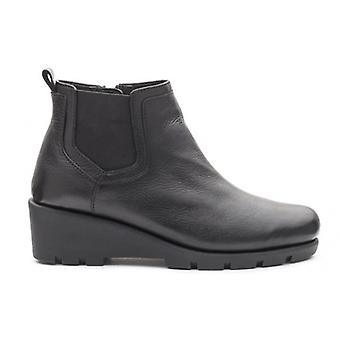 Padders Lark Ladies Leather Wide (e Fit) Wedge Heel Boots Black