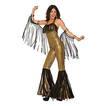 Womens Gold Disco Queen Fancy Dress Jumpsuit (10-14)