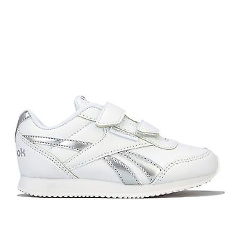 Children Girls Reebok Royal Cl Jog 2V Trainers In White Silver- Hook And Loop