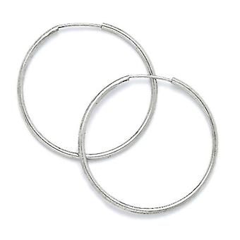 14k White Gold 25mm Round Hoop Earrings Jewelry Gifts for Women