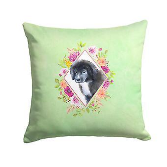 Newfoundland Puppy Green Flowers Fabric Decorative Pillow