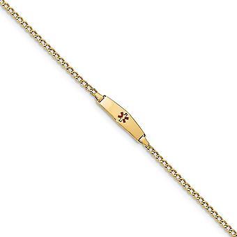 5,5 mm 14k medizinische weiche Diamant Form rot Emaille ID mit halb solide Miami Bordstein Armband - Länge: 6 bis 7