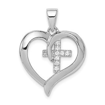 925 Sterling Silver Love Heart With CZ Cubic Zirconia Simulated Diamond Religious Faith Cross Pendant Necklace Jewelry G
