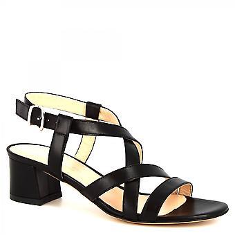 Leonardo Shoes Women's handmade heels sandals black calf leather with buckle