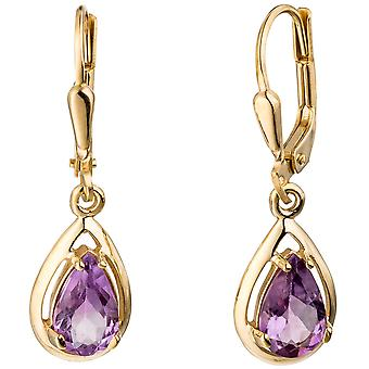 Amethyst drop boutons 333 Gold Yellow Gold 2 Amethyst earrings