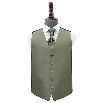 Salbei grün Plain Shantung Hochzeit Weste & Cravat Set