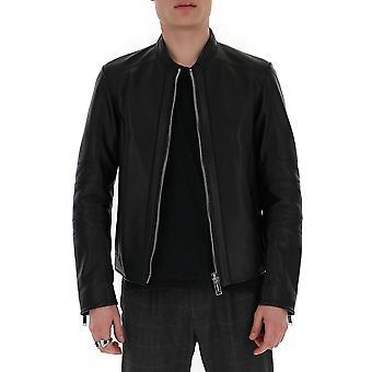 Les Hommes Lil212158u9000 Men's Black Leather Outerwear Jacket