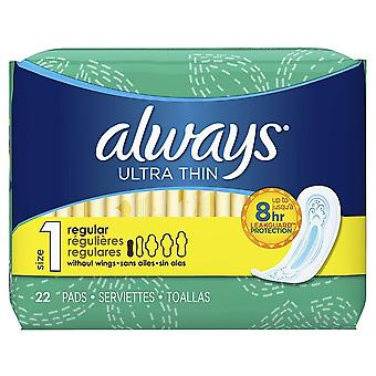 Always Ultra Thin Pads Regular, Size 1, Unscented, 22 Pads