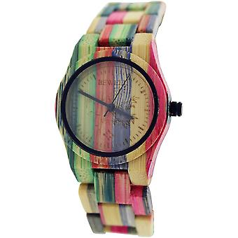 Bewell Ladies Analogue Multi-Colour Bamboo Wooden Watch With Fold Over Fastening