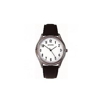 Sekonda Mens Round White Dial Black Strap Watch 3621
