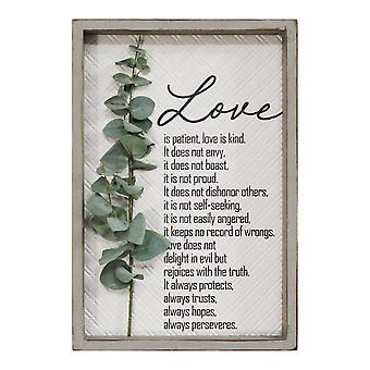 Kærlighed er Patient Metal & Wood Indrammet Wall Art