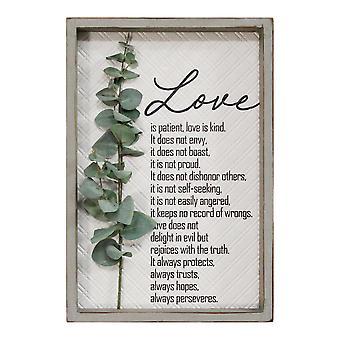 Love is Patient Metal & Wood Framed Wall Art