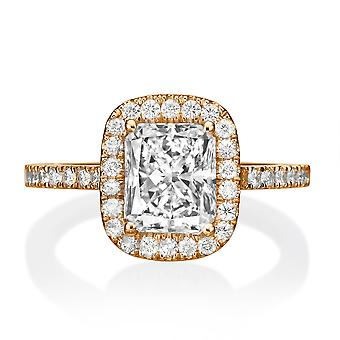 1.4 Carat E VS2 Diamond Engagement Ring 14K Rose Gold Halo Vintage Micro Pave