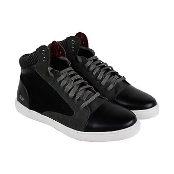 Robert Wayne Garroway  Mens Black Leather Casual Fashion Sneakers Shoes