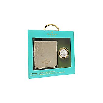 Kate Spade Gift Set Sticker Pocket & Stability Ring for SmartPhones - Universal - Gold saffiano leather