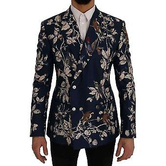 Dolce & Gabbana Blue Bird Print Silk Slim Fit Blazer Jacket -- SIG6147696