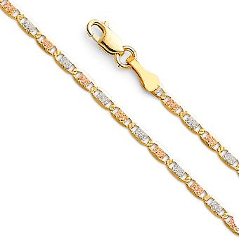 14k 2.1mm Yellow Gold White Gold and Rose Gold Valentino Necklace Jewelry Gifts for Women - Length: 16 to 24