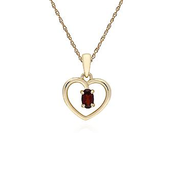 Classic Style Oval Garnet Love Heart Shaped Pendant Necklace in 9ct Yellow Gold 135P1887079