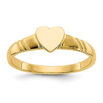 14k Yellow Gold Solid Polished Engravable Closed back for boys or girls Love Heart Ring Size 3