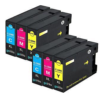 2 kompatible Sets von 3 C/M/Y Canon PGI-1500XL Drucker Tintenpatronen (Farbset)