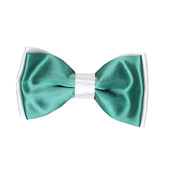Boys Pre-tied Adjustable Neck Strap Kids Bowtie  In Green and White