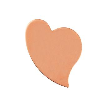 Kupfer Blanks swept Herz Pack von 6 26,2 mm X 19,3 mm X 1 mm