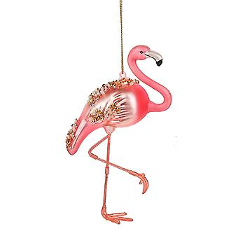 Pink Flamingo Encrusted with Beads Christmas Holiday Ornament 5 Inches