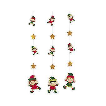 6 Décorations de partie suspendues d'elfe de Noël