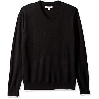 ブランド - グッドスレッドメン&アポス;s軽量メリノウールVネックセーター、Blac..
