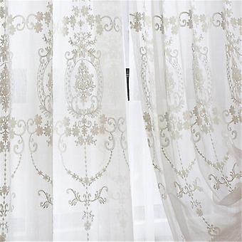الستائر البيضاء لغرفة المعيشة نافذة الدانتيل الستائر