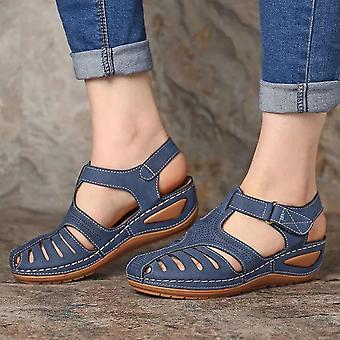 Sapatos femininos, sandálias com fivela pu - Ladies Retro Costura, Oco Fora, Plano