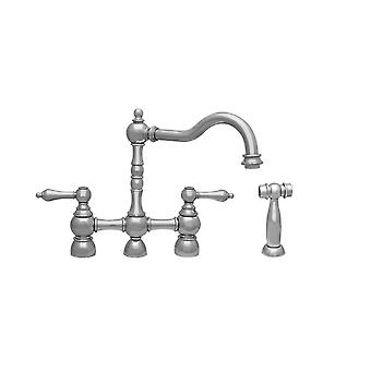 Englishhaus Bridge Faucet With Long Traditional Swivel Spout, Solid Lever Handles And Solid Brass Side Spray - Polished Nickel
