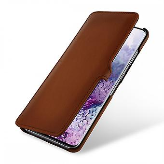 Case For Samsung Galaxy S20 Plus Book Type Brown In True Leather With Clip