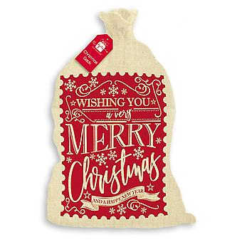 Large Calico Wishing You A Very Merry Christmas Nordic Santa Sack