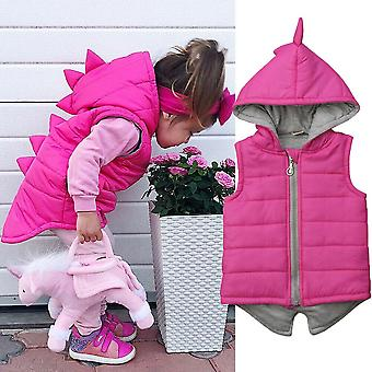 Baby, Dinosaur Vest Down, Hooded Zipper Jacket - Winter Thick Warm Outwear