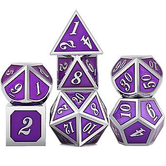 7pcs Metal Polyhedral Dice Contains One D20, One D12, Two D10 (00-90 And 0-9),