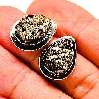 "Rough Astrophyllite Earrings 3/4"" (925 Sterling Silver)  - Handmade Boho Vintage Jewelry EARR408010"