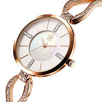 SK K0020 الماس الطلب حالة السيدات المعصم ووتش الفولاذ المقاوم للصدأ حزام كوارتز