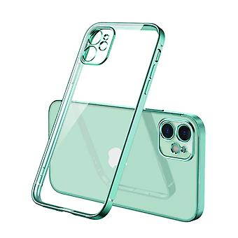 PUGB iPhone 12 Pro Case Luxe Frame Bumper - Case Cover Silicone TPU Anti-Shock Light green