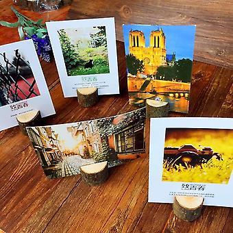 Puinen kanto muoto valokuva clip / kortin haltija, viesti hääjuhla valokuvateline,