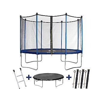 """Trampoline / trampoline """" Happy """" - Ø 3,65 m - met gaas + ladder + afdekking + verankeringsset"""