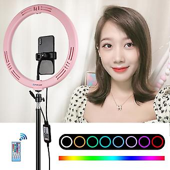 PULUZ 11.8 inch 30cm RGB Dimmable LED Dual Color Temperature LED Curved Diffuse Light Ring Vlogging Selfie Photography Video Lights with Cold Shoe Tri