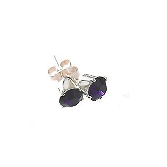 Sterling Silver Unisex Studs Earrings 2 Carat Swarovski Crystal - Tanzanite Deep Purple