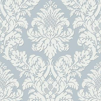 Pear Tree Teal Glitter Damask
