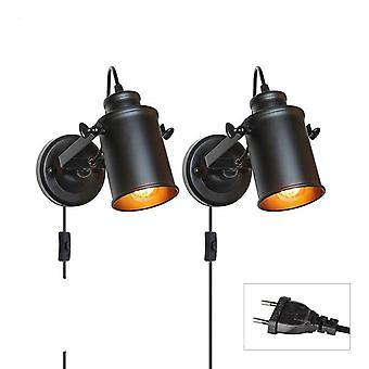 Vintage Lampa ścienna- Światło przemysłowe, z przełącznikiem przycisku