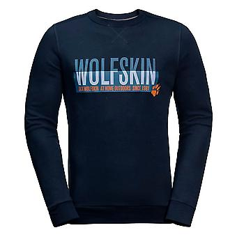 Jack Wolfskin Mens Slogan Sweatshirt Graphic Jumper Navy 1707391 1010