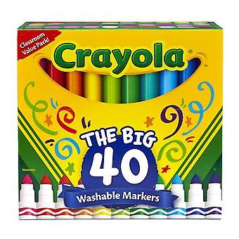 Waschbare Marker, Breite Linie, verschiedene Farben, Packung mit 40