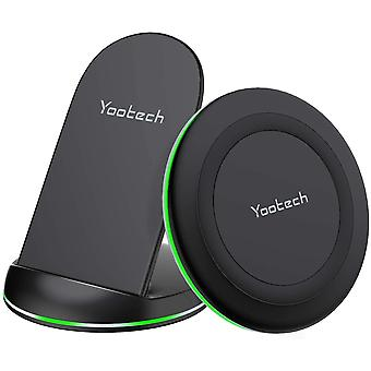 yootech Wireless Charger, [2 Pack]10W Max Wireless Charging Pad Stand Bundle